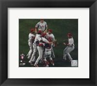 Framed Philadelphia Phillies celebrate winning Game Five of the 2008 NLCS