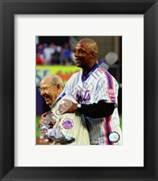 Framed Yogi Berra & Darryl Strawberry Final Game at Shea Stadium 2008