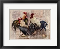 Framed Rooster Trio