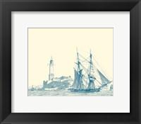 Framed Sailing Ships in Blue I