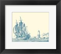 Framed Sailing Ships in Blue III