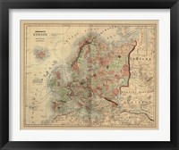 Framed Antique Map of Europe
