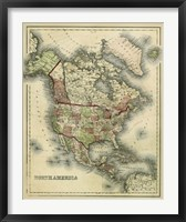Framed Antique Map of North America