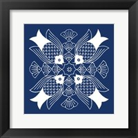 Framed Chinese Indigo Fish I