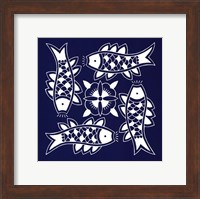 Framed Chinese Indigo Fish III