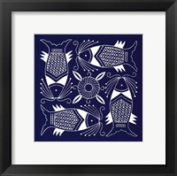 Framed Chinese Indigo Fish IV