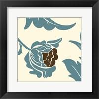 Teal Floral Motif I Framed Print