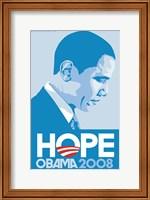Framed Barack Obama - (Profile, Blue) Campaign Poster