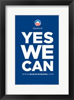 Framed Barack Obama - (Yes We Can - Blue) Campaign Poster