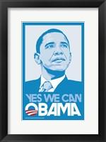 Framed Barack Obama, (Blue, Yes We Can) Campaign Poster