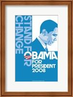 Framed Barack Obama, (Stand for Change, Blue) Campaign Poster