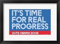 Framed Barack Obama - (Time for Real Progress) Campaign Poster
