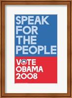 Framed Barack Obama - (Speak for People-blue) Campaign Poster