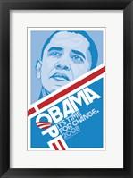 Framed Barack Obama - (Hope, Blue) Campaign Poster