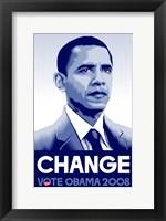 Framed Barack Obama - (Change) Campaign Poster