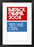 Framed Barack Obama - (Yes We Can Logo) Campaign Poster
