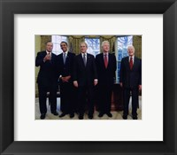 Framed Presidents Bush Senior, Obama, Clinton, Bush and Carter