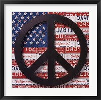 Framed American Flag Peace Sign