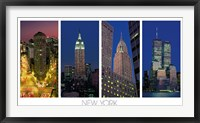 Framed Flatiron Building, the Empire State Building, the Chrysler Building and the World Trade Center