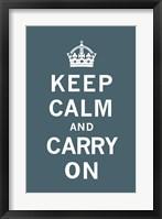 Framed Keep Calm and Carry On Dark Teal