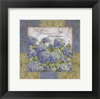 Framed Flowers on Blue I