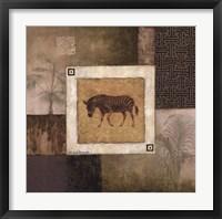 Zebra Woodcut Framed Print