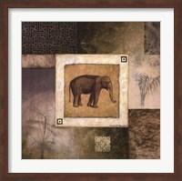 Framed Elephant Woodcut