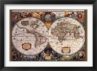 Framed 17th Century World Map