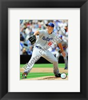 Framed Clayton Kershaw 2009 Pitching Action