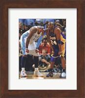 Framed Carmelo Anthony & Kobe Bryant 2008-09 Playoff Action