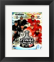 Framed '09 St. Cup Match Up - Pens / Red Wings