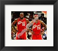 Framed LeBron James & Shaquille O'Neal 2009-10 Group Shot