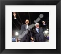 Framed U.S. Senator Edward Kennedy & Senator Barack Obama at a 2008 Campaign Rally