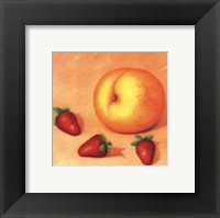 Strawberries With A Peach Framed Print