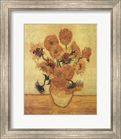 Framed Sunflowers On Gold