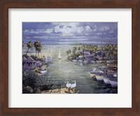 Framed Safe Harbor With Pelicans