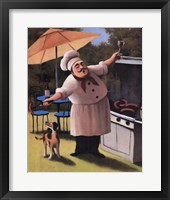 Framed Barbecue Chef and Dog
