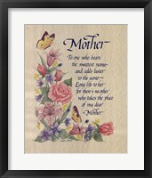 Framed Mother Tribute Poem