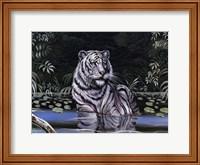 Framed Wading White Tiger