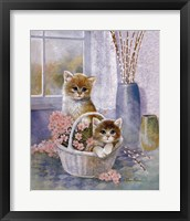 Framed Flower Basket with Cats