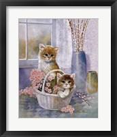 Framed Flower Basket with Cats