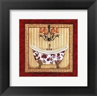 Red Demask Bath I Framed Print
