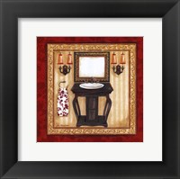 Red Demask Bath II Framed Print