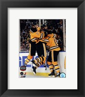 Framed Patrice Bergeron, Zdeno Chara, & Marco Sturm Celebrate the Game Winning Goal  2010 NHL Winter Classic