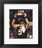 Framed Drew Brees 2009 With NFC Championship Trophy