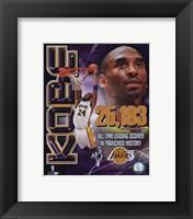 Framed Kobe Bryant Los Angeles Lakers All-Time Leading Scorer Portrait Plus