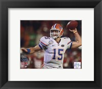 Framed Tim Tebow University of Florida Gators 2009 Action Passing