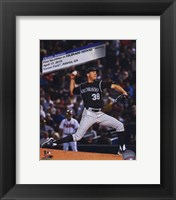 Framed Ubaldo Jimenez 2010 No-Hitter Action