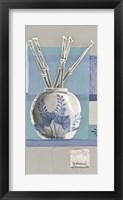 Framed Blue Asian Collage I
