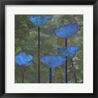Framed Teal Poppies I